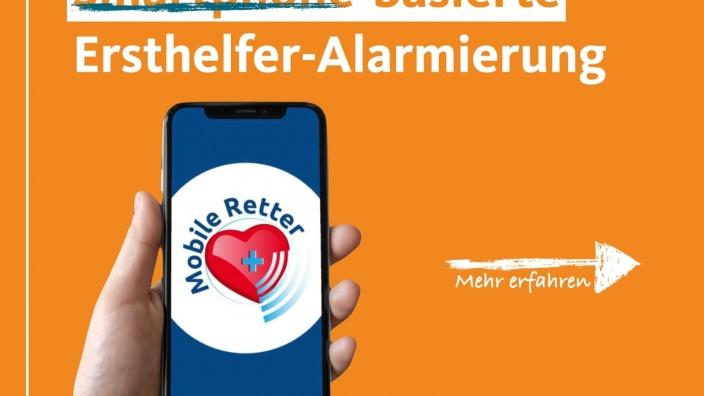 """Auf diesem Bild sehen Sie den Schriftzug """"Smartphone-basierte Ersthelfer-Alarmierung"""" auf orangenem Grund."""
