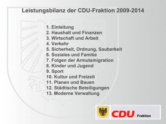 September 2014: Fraktionsbilanz 2009-2014